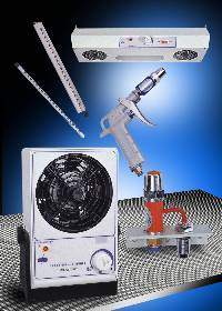 Ionisation products eliminate static